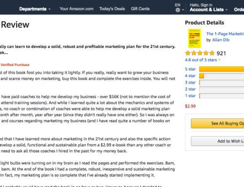 """""""Realmente puedes aprender a desarrollar un plan de marketing sólido, robusto y rentable para el siglo XXI. Pero necesitas este libro .."""" Don W."""